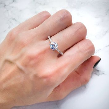 1ct Diamond Simulant CZ 6 Prongs Set Solitaire Sterling Silver Engagement Ring