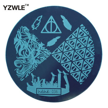 YZWLE Hot Sale Lattice Shape Template Pattern Nail Art Image Stamping Steel Plates 5.5cm Manicure Template (hehe036)