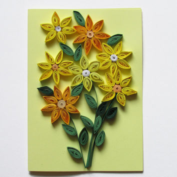 Quilling Card with Quilled Yellow Posies