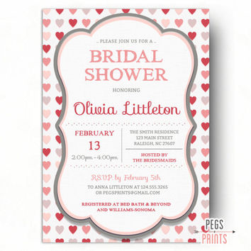 Valentines Day Bridal Shower Invitation - Valentine Bridal Shower Invites - Heart Bridal Shower Invitation - Valentines Shower Printable