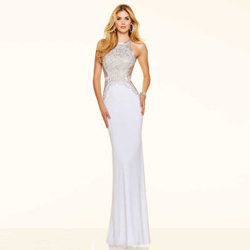 Unique Designer Colorful Crystal Sequined Beaded Sexy Mermaid Prom Dresses 2016 Simple Style Satin Halter Neck Formal Dresses