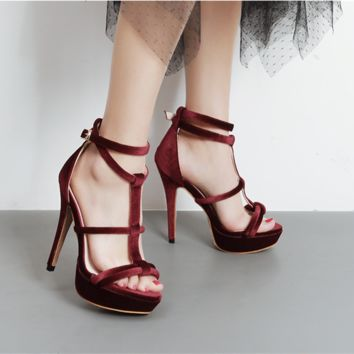 Summer Fashion Hollow Cross Bandage Buckle Band Sandals Women Platform Heels Shoes