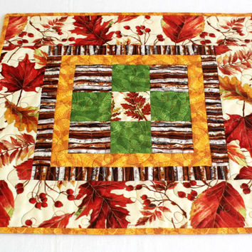 Fall Table Topper, Quilted Candle Mat, Autumn Table Quilt, Autumn Leaves, Quiltsy Handmade