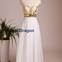 Angel Dragon  Party Chiffon Prom Dresses Long Evening Gowns