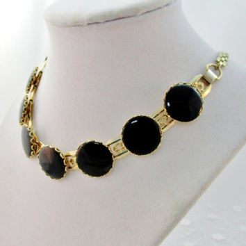 Necklace Black Prong Set Glass Beads On Wide Silver Linked Ornate Chain 1950's Collectible Item 1512