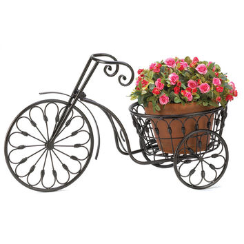 Patio Plant Stand, Office Plant Stand Black, Contemporary Bicycle Plant Stand