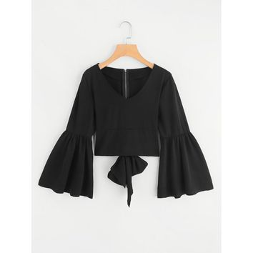 Flare Sleeve Bow Tie Back Blouse