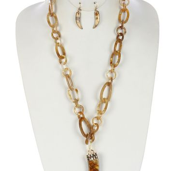 Natural Turtoise Lucite Link Chain Elephant Tusk Pendant Necklace And Earring Set