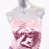 80s pink metallic bustier, vintage strapless top, shiny crop, vtg 1980s prom rave fashion clothing shirt, spring 2014 urban retro retrofit