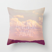 Adventure Awaits  Throw Pillow by Rachel Burbee | Society6