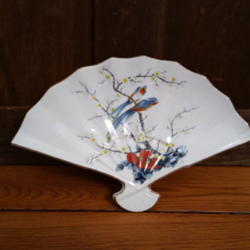 Vintage Porcelain Fan Shaped Trinket Dish Made in Japan Birds Cherry Blosson