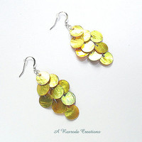 Yellow Mussel Shell Earrings / Yellow Shell Earrings / Chandelier Earrings