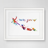 Never Grow Up Art Print Painting Peter Pan Quotes Nursery Watercolor Movie Baby Decor  Wall Art Poster No Frame