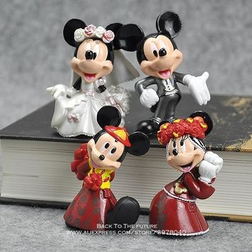 Disney Mickey Mouse Minnie Wedding 4pcs/set 6cm Action Figure Posture Anime Decoration Collection Figurine Toy model children
