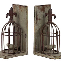 Rustic & Charming Resin Bird Cage Bookends w/ One Bird in Both Cage