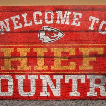 "KANSAS CITY CHIEFS WELCOME TO CHIEFS COUNTRY WOOD SIGN 13""X24'' NEW WINCRAFT"