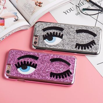 Napeyin i6 Glitter powder fashion chiara ferragni Bling big eyes eyelashes PC+ Plating back Cover phone Cases for iPhone 6 6s