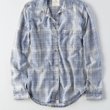 AEO Washed Plaid Boyfriend Shirt, Purple