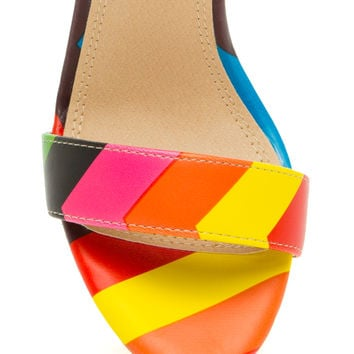 Rainbow Bright Chunky Open-Toe Heels
