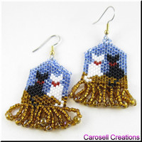 Kitty Cat Love Beadwork Dangle Seed Bead Earrings
