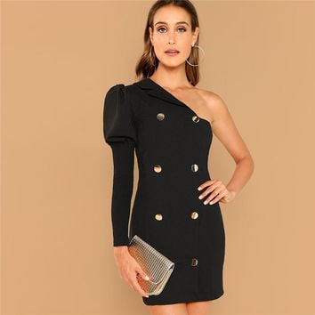 Black Party Double Breasted One Shoulder Puff Sleeve Natural Waist Solid Dress Fashion Casual Women Dresses