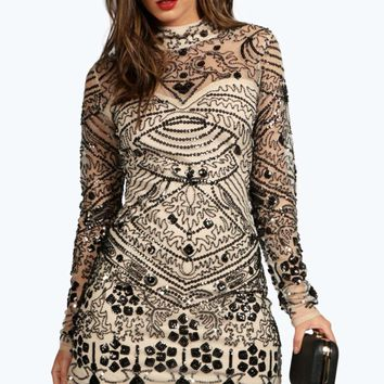 Kendall Boutique Embellished High Neck Bodycon Dress