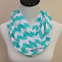 Tiffany Blue Chevron Infinity Scarf