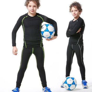 New Kids Compression Set T-Shirt And Pants Workout Shirts Boys Running Clothes Elastic Quick Dry Skinny Tights Leggings 2PCS/Set