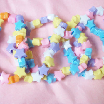 5 Pastel Kandi Star Bracelets Grab Bag, Fairy Kei, Soft Colors, Candy Colored