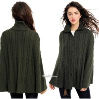 Licensed cool Outlander Claire Fraser Sweater Cape Cable Knit Dark Green Juniors S/M OR L/XL
