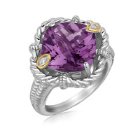 18K Yellow Gold and Sterling Silver Rope Edge Cushion Amethyst and Diamond Ring: Size 6
