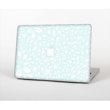 The Light Teal Blue & White Floral Sprout Skin Set for the Apple MacBook Pro 15""