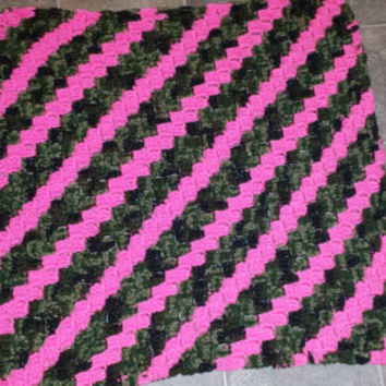 Made to order handmade crochet camo and pink/ purple baby afghan!  Perfect for the future little girl hunter!