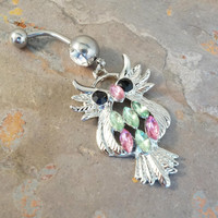 Jeweled Owl Belly Button Jewelry Ring In-N-Out