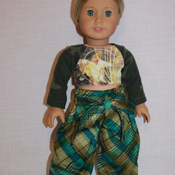 18 inch doll clothes plaid, Harem, dance, yoga pants with ties, graphic print crop top with camo sleeves, american girl, maplelea