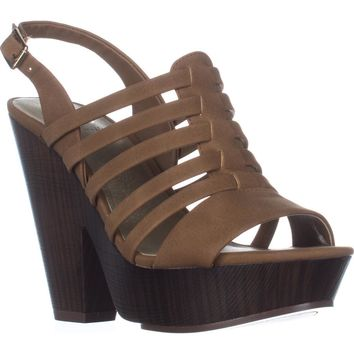 G by GUESS Seany2 Platform Gladiator Sandals, Medium Natural, 9.5 US