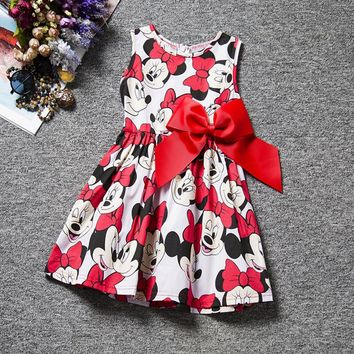 Baby Girl Dress Print Minnie Mouse Dress Princess Sleeveless Flower Dress Girl Clothes Fashion Kids Baby Minnie Costume