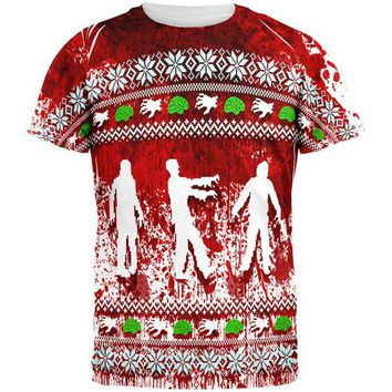 ONETOW Ugly Christmas Sweater Bloody Zombie Attack Survivor All Over Mens T Shirt