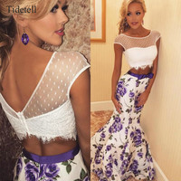 Two Piece Mermaid Long Prom Dresses 2017 Floral Print Fashion Full-Length Purple Flower See-Through Fringe Bow Custom Made Dress