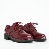 Missguided - Camilla Pointed Lace Up Brogues Oxblood Patent