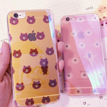 Cute little bear and little rabbit phone case for iPhone 7 7 plus iphone 6 6s 6 plus 6s plus + Nice gift box 080902