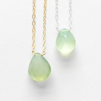 Holiday Solitaire Special - Green Chalcedony Drop