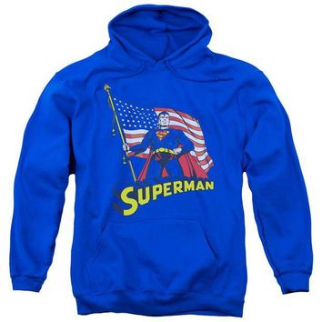 ac spbest Superman - American Flag Adult Pull Over Hoodie
