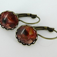 Antiqued Gold-tone Faux Tortoise Shell Resin Lever-back Drop Earrings