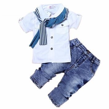 3 Piece Cotton T-shirt+Jeans Trousers+Scarf 2-7 T