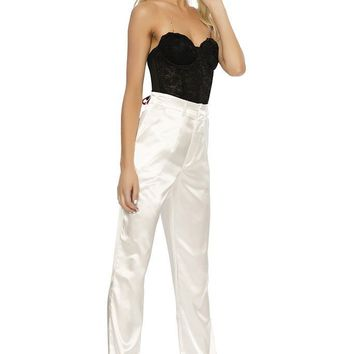 Classic Satin Trousers- WHITE