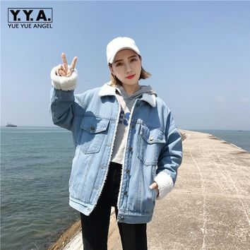 Winter Fleece Lining Thicken Womens Denim Jackets Fur Collar Oversize Boyfriend Jeans Coat 2017 New Loose Outwear Cowboy Coats