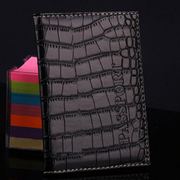 New Soft Passport Cover Delicate PU Leather Alligator Embossing Passport Holder Protector Wallet Business Card Holder 6 Colors