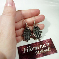 Hamsa earrings, Moroccan earrings, Boho jewelry, Silver Hamsa, Under 10 dollars, Hand of fatima, Fatima jewelry, Buddhistic Earrings