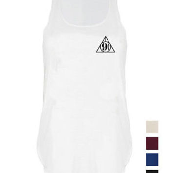 Kings cross Platform 9 3/4 print tank top vest hogwarts express singlet wand top | eBay